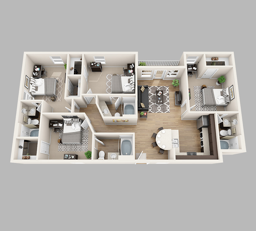 view floor plans - 4 Bedroom Apartments